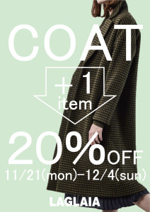COAT + 1item = 20%OFF!!